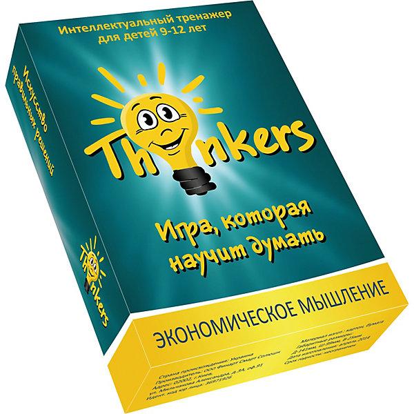 Настольная игра Thinkers Экономическое мышлениеОбучающие игры для дошкольников<br>Характеристики товара:<br><br>• возраст: от 9 лет;<br>• материал: картон;<br>• упаковка: картонная коробка;<br>• в комплекте: 100 каротчек, инструкция;<br>• размер упаковки: 10х14х2,5 см;<br>• вес упаковки: 350 гр.;<br>• страна производитель: Украина.<br><br>Настольная игра Thinkers (Финкерс) Экономическое мышление - одна из самых сложных и увлекательных игр для детей и взрослых. Для выполнения интелектуальных задачь нужно применить логику и смекалку.<br><br>В комплект игры входят карточки с заданиями, сложность которых варьируется по пятьбальной шкале. Правильность ответов можно проверить на обороте карточки. Играть могут неограниченое количество игроков.<br><br>Настольную игру Thinkers (Финкерс) Экономическое мышление можно купить в нашем интернет-магазине.<br>Ширина мм: 145; Глубина мм: 100; Высота мм: 25; Вес г: 339; Возраст от месяцев: 108; Возраст до месяцев: 144; Пол: Унисекс; Возраст: Детский; SKU: 7434973;