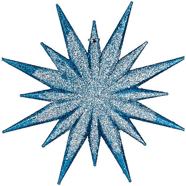 Украшение Звезда многогранная 12,5 смЁлочные игрушки<br>Характеристики:<br><br>• количество: 1 шт.;<br>• материал: пластик;<br>• вес: 42 гр.;<br>• размер: 12,5х1х12,5 см;<br>• страна бренда: Россия.<br><br>«Звезда многогранная» Erich Krause выполнена в сине-серебристом цвете с сияющим блестками. Великолепное украшение на елку или в интерьер. Звезду можно подвесить с помощью отверстия для шнурка на одном из лучей.<br><br>Украшение «Звезда многогранная» 12,5 см можно купить в нашем интернет-магазине.<br>Ширина мм: 10; Глубина мм: 125; Высота мм: 125; Вес г: 42; Возраст от месяцев: 84; Возраст до месяцев: 2147483647; Пол: Унисекс; Возраст: Детский; SKU: 7435903;