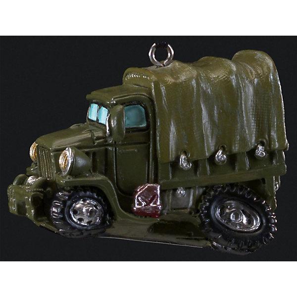 Украшение Военный грузовик 5,7 смЁлочные игрушки<br>Характеристики:<br><br>• количество: 1 шт.;<br>• вес: 49 гр.;<br>• размер: 5,7х4х3 см;<br>• страна бренда: Россия.<br><br>«Военный грузовик» Erich Krause — оригинальное подвесное украшение в виде зеленого грузовика с красной канистрой. Фигурка покрыта насыщенными стойкими красками, имеется петелька для шнурка. Сувенир можно подвесить или поставить на рабочем столе. Приятный презент военнослужащим.<br><br>Украшение «Военный грузовик» 5,7 см можно купить в нашем интернет-магазине.<br>Ширина мм: 57; Глубина мм: 40; Высота мм: 30; Вес г: 49; Возраст от месяцев: 84; Возраст до месяцев: 2147483647; Пол: Мужской; Возраст: Детский; SKU: 7435961;