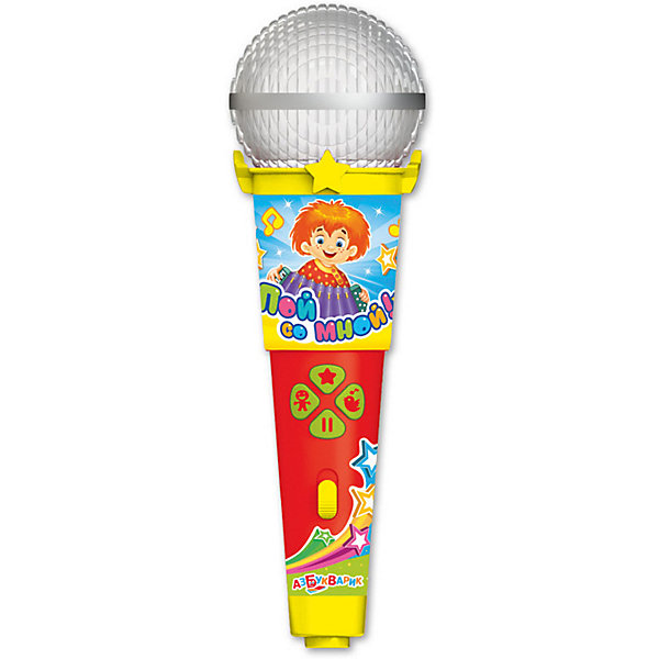 Микрофон Азбукварик Пой со мной Песни В. ШаинскогоМикрофоны<br>Характеристики товара:<br><br>• ISBN:4680019281612;<br>• возраст: от 3 лет;<br>• тип батареек: 1 x AAA / LR0.3 1.5V (мизинчиковые);<br>• наличие батареек: входят в комплект;<br>• состав: металл, пластик;<br>• размер упаковки: 25 х 16.3 х 6.1 см.;<br>• размер игрушки: 19 x 6 x 5.5 см.;<br>• вес: 140 гр.;<br>• упаковка: блистер на картоне;<br>• бренд: Азбукварик.<br>• страна обладатель бренда: Россия.<br><br>Игрушка-микрофон «Песенки В.Шаинского» из серии  «Пой со мной!» от российского бренда Азбукварик несомненно заинтересует многих детей. Игрушка может воспроизводить веселые песенки, которым ребенок будет с радостью подпевать, представляя себя артистом.<br><br>Представленная игрушка выполнена в виде настоящего аксессуара для пения, обладающего световыми и звуковыми эффектами. Игрушечный микрофон светится под музыку, напоминая диско-шар. <br><br>Слушай и пой 12 популярных песенок В. Шаинского, М. Танича и других известных композиторов: Песенка про кузнечика, Дождь пойдёт по улице, Улыбка, Пусть бегут неуклюже, Чунга-Чанга, По секрету всему свету, Антошка, Всё мы делим пополам, Облака, Пропала собака, Песенка Мамонтёнка, Когда мои друзья со мной. <br><br>Нажимай на яркие кнопочки - пой с Крошкой Енотом, Мамонтенком, Антошкой и другими мультяшками. А мобильное приложение от Азбукварика подарит ещё больше веселья! Скачай книжку «Караоке» с помощью бонусного QR-кода на упаковке.<br> <br>Игрушку-микрофон «Песенки В.Шаинского» от Азбукварик  можно купить в нашем интернет-магазине.<br>Ширина мм: 190; Глубина мм: 300; Высота мм: 50; Вес г: 140; Возраст от месяцев: 36; Возраст до месяцев: 72; Пол: Унисекс; Возраст: Детский; SKU: 7436739;