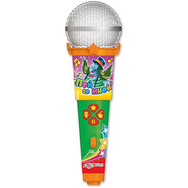 Микрофон Азбукварик Пой со мной Песенки веселых мультяшекМикрофоны<br>Характеристики товара:<br><br>• ISBN:4680019281629;<br>• возраст: от 3 лет;<br>• тип батареек: 1 x AAA / LR0.3 1.5V (мизинчиковые);<br>• наличие батареек: входят в комплект;<br>• состав: металл, пластик;<br>• размер упаковки: 25 х 16.3 х 6.1 см.;<br>• размер игрушки: 19 x 6 x 5.5 см.;<br>• вес: 140 гр.;<br>• упаковка: блистер на картоне;<br>• бренд: Азбукварик.<br>• страна обладатель бренда: Россия.<br><br>Игрушка-микрофон «Песенки веселых мультяшек» из серии  «Пой со мной!» от российского бренда Азбукварик - это веселое караоке, которое легко превращается в настоящий музыкальный концерт.<br><br>Такую интересную игрушку ребенок может взять с собой куда угодно, а заводные песенки из мультфильмов будут радовать и развлекать малыша. Ребенок станет охотно подпевать песенкам из любимых мультиков, что также будет стимулировать его слух и память. Микрофон оснащен подсветкой, которая будет ярко мигать во время песни. <br><br>Слушай и пой 15 хитов из любимых мультфильмов («Не ходите, дети, в Африку гулять», «Хвост за хвост», «Человек собаке друг», «Песня Гениального Сыщика» и др.). А мобильное приложение от Азбукварика подарит ещё больше веселья! Скачай книжку «Караоке» с помощью бонусного QR-кода на упаковке. <br> <br>Игрушку-микрофон «Песенки веселых мультяшек» от Азбукварик  можно купить в нашем интернет-магазине.<br>Ширина мм: 130; Глубина мм: 222; Высота мм: 50; Вес г: 140; Возраст от месяцев: 36; Возраст до месяцев: 72; Пол: Унисекс; Возраст: Детский; SKU: 7436741;