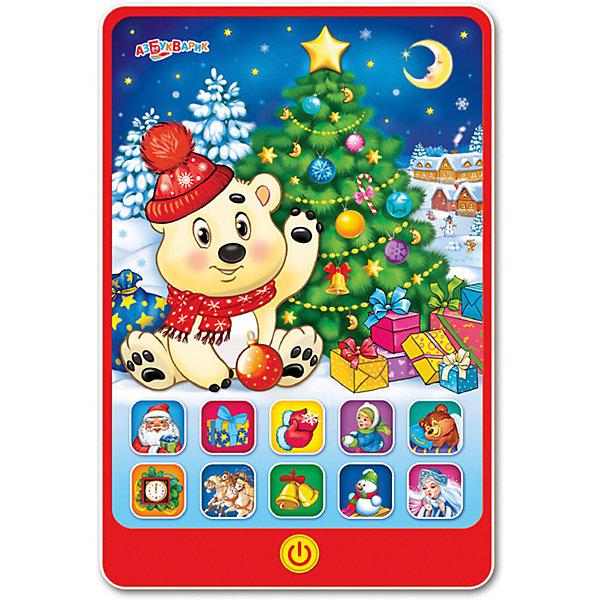 Говорящий планшетик Азбукварик Новогодний праздникДетские гаджеты<br>Характеристики товара:<br><br>• ISBN:4680019281506;<br>• возраст: от 3 лет;<br>• тип батареек: 3 x AAA / LR0.3 1.5V (мизинчиковые);<br>• наличие батареек: входят в комплект;<br>• состав: пластик;<br>• размер упаковки: 22 х 29 х 2 см.;<br>• размер игрушки: 20 x 13,5 см.;<br>• вес: 230 гр.;<br>• упаковка: блистер на картоне;<br>• бренд: Азбукварик;<br>• страна обладатель бренда: Россия.<br><br>Игрушка-планшет «Новогодний праздник» от российского бренда Азбукварик  сможет порадовать всех ребятишек, подарив хорошее настроение в преддверии долгожданного праздника. <br><br>Интерактивная игрушка представляет собой миниатюрную копию мобильного устройства и отличается оригинальным дизайном. На экране игрушки изображен медвежонок Умка, герой всеми любимого мультфильма. Если нажать на изображение мишки, он начнет петь, разговаривать и рассказывать три веселые сказки.<br><br>В детский смартфон встроено свыше десяти новогодних песен, которые порадуют ребенка и надолго завладеют его вниманием. А мобильное приложение от Азбукварика подарит ещё больше песенок и веселья! Скачай книжку «Караоке» с помощью бонусного QR-кода на упаковке. <br> <br>Игрушку-планшет «Новогодний праздник» от Азбукварика  можно купить в нашем интернет-магазине.<br>Ширина мм: 220; Глубина мм: 18; Высота мм: 280; Вес г: 230; Возраст от месяцев: 36; Возраст до месяцев: 72; Пол: Унисекс; Возраст: Детский; SKU: 7436745;