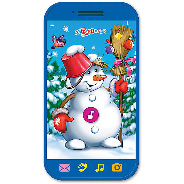 Мини-смартфончик Азбукварик Веселый снеговикДетские гаджеты<br>Характеристики товара:<br><br>• ISBN:4680019281339;<br>• возраст: от 3 лет;<br>• тип батареек: 2 x AAA / LR0.3 1.5V (мизинчиковые);<br>• наличие батареек: входят в комплект;<br>• состав: пластик;<br>• размер упаковки: 22,5 х 13 х 2 см.;<br>• размер игрушки: 11,3 x 6 см.;<br>• вес: 80 гр.;<br>• упаковка: блистер на картоне;<br>• бренд: Азбукварик;<br>• страна обладатель бренда: Россия.<br><br>Мини-смартфончик «Веселый снеговик» от российского бренда Азбукварик  сможет порадовать всех ребятишек, подарив хорошее настроение в преддверии долгожданного праздника. Игрушка предназначена для малышей, помогает развивать музыкальный вкус и чувство ритма.<br><br>Игрушка повторяет форму сенсорного телефона, дополненного несколькими яркими кнопками, нажимая на которые, каждый ребенок сможет прослушать детские песенки и забавные звуки. Обладатели такой игрушки смогут хорошо провести время, слушая веселые мелодии и смешные звуки. <br><br>Мобильное приложение от Азбукварика подарит ещё больше песенок и веселья! Скачай книжку «Караоке» с помощью бонусного QR-кода на упаковке. <br> <br>Мини-смартфончик «Веселый снеговик» от Азбукварика  можно купить в нашем интернет-магазине.<br>Ширина мм: 132; Глубина мм: 16; Высота мм: 227; Вес г: 80; Возраст от месяцев: 36; Возраст до месяцев: 72; Пол: Унисекс; Возраст: Детский; SKU: 7436750;