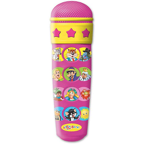 Микрофон Азбукварик Караоке Стань звездойМикрофоны<br>Характеристики товара:<br><br>• ISBN:4630014081205;<br>• возраст: от 3 лет;<br>• тип батареек: 2 x AAA / LR0.3 1.5V (мизинчиковые);<br>• наличие батареек: входят в комплект;<br>• состав: металл, пластик;<br>• размер упаковки:28 х 13,2 х 3,5 см.;<br>• размер игрушки: 15 x 5 см.;<br>• вес: 120 гр.;<br>• упаковка: блистер на картоне;<br>• бренд: Азбукварик.<br>• страна обладатель бренда: Россия.<br><br>Игрушка-микрофон «Стань звездой!» из серии  «Караоке» от российского бренда Азбукварик развеселит ребенка и подарит ему возможность подпевать любимым героям, слушая знакомые песенки. <br><br>Корпус игрушечного микрофона изготовлен из яркой пластмассы. На микрофоне есть кнопочки, позволяющие включить звуковой модуль. Микрофон транслирует 12 песенок из популярных мультфильмов. Игрушка работает от батареек. <br><br>Игрушка развивает музыкальный вкус и чувство ритма. Мобильное приложение от Азбукварика подарит ещё больше веселья! Скачай книжку «Караоке» с помощью бонусного QR-кода на упаковке.  <br> <br>Игрушку-микрофон «Стань звездой!», 12 песенок от Азбукварик  можно купить в нашем интернет-магазине.<br>Ширина мм: 132; Глубина мм: 35; Высота мм: 228; Вес г: 120; Возраст от месяцев: 36; Возраст до месяцев: 72; Пол: Унисекс; Возраст: Детский; SKU: 7436772;