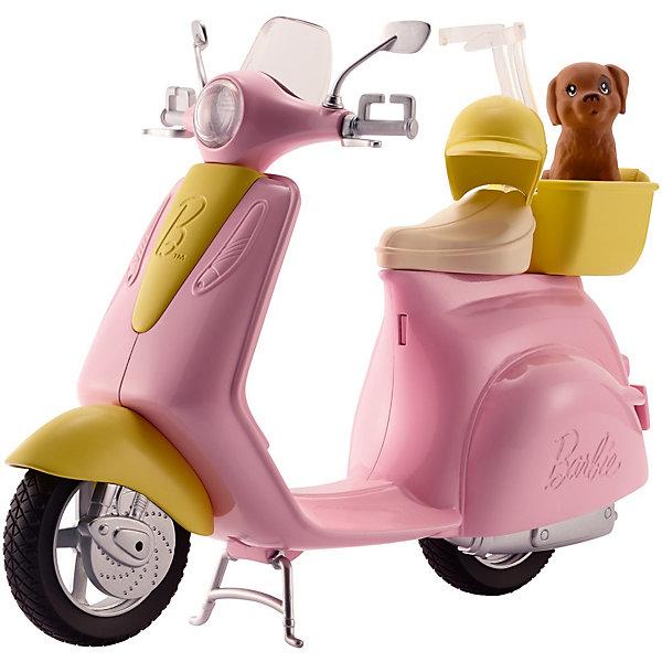 Транспорт для куклы Barbie МопедТранспорт и коляски для кукол<br>Характеристики:<br><br>• возраст: от 3 лет;<br>• материал: пластик;<br>• в наборе: мопед, щенок;<br>• вес упаковки: 462 гр.;<br>• размер упаковки: 9,5х29х22 см;<br>• страна бренда: США.<br><br>Набор Mattel Barbie «Мопед» включает друга Барби – очаровательного щенка, которого можно катать в корзине мопеда.<br><br>Колеса мопеда вращаются. На сиденье предусмотрен держатель для куклы. На ручках руля есть крепление для рук Барби. Сделано из качественных безопасных материалов.<br><br>Barbie Мопед можно купить в нашем интернет-магазине.<br>Ширина мм: 297; Глубина мм: 243; Высота мм: 101; Вес г: 484; Возраст от месяцев: 36; Возраст до месяцев: 72; Пол: Женский; Возраст: Детский; SKU: 7440121;