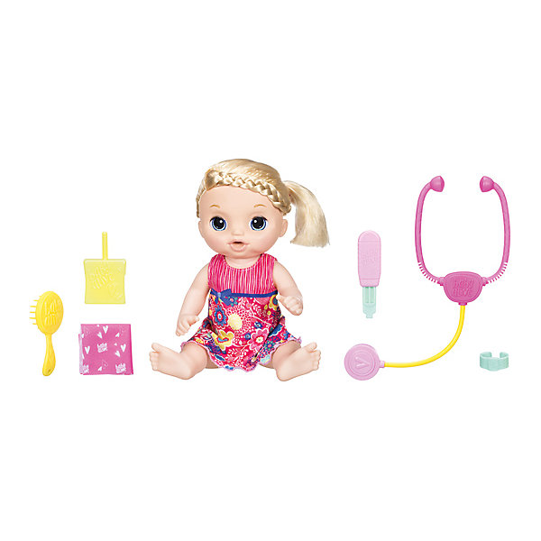 Интерактивная кукла Hasbro Baby Alive Малышка у врачаКуклы<br>Характеристики:<br><br>• озвученная кукла;<br>• 38 фраз на русском языке;<br>• 8 звуков;<br>• кукла пьет и плачет;<br>• слезы катятся из глаз;<br>• выражение лица меняется на грустное;<br>• одежда снимается;<br>• волосы расчесываются;<br>• подвижные ручки и ножки куклы;<br>• голова поворачивается;<br>• материал: пластик;<br>• размер упаковки: 38х12х40,5 см;<br>• вес: 405 г.<br><br>Сюжетно-ролевая игра в больничку с куклой Hasbro намного интереснее. На приеме не только проводится осмотр, но куколку еще и успокаивают, ведь Малышка плачет. Кукла Малышка умеет пить, плакать, а также говорить и смеяться. Обращается к девочке «Мамочка». Кукла произносит 38 фраз, язык – русский. <br><br>Если куколка «расстраивается», у нее даже меняется выражение лица, становится грустным. В процессе игры девочка учится успокаивать куколку, ухаживать за ней, использовать для осмотра пациентов стетоскоп и термометр. Игра развивает фантазию, образное мышление, прививает чувства заботы, сочувствия, позволяет проявить внимание.<br><br>Комплектация игрового набора Hasbro:<br><br>• интерактивная кукла Малышка, 36,5 см;<br>• стетоскоп;<br>• термометр;<br>• расческа;<br>• поильник;<br>• браслетик;<br>• носовой платочек;<br>• инструкция.<br><br>Кукла «Малышка у Врача», Hasbro можно купить в нашем интернет-магазине.<br>Ширина мм: 123; Глубина мм: 380; Высота мм: 405; Вес г: 405; Возраст от месяцев: 36; Возраст до месяцев: 2147483647; Пол: Женский; Возраст: Детский; SKU: 7440703;