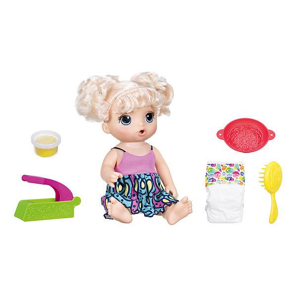 Интерактивная кукла Hasbro Baby Flive Малышка и лапшаКуклы<br>Характеристики:<br><br>• сюжетно-ролевая игра в дочки-матери;<br>• подвижные конечности куклы, голова поворачивается;<br>• нейлоновые волосы прочно прошиты;<br>• мягкая масса для лепки легко выдавливается и проходит через ручной пресс;<br>• у девочки есть возможность кормить куклу и менять ей подгузник;<br>• в комплекте: кукла, пресс для выдавливания, масса для лепки, подгузник;<br>• материал: пластик, текстиль, нейлон, масса для лепки;<br>• размер упаковки: 38х35х10 см;<br>• вес: 382 г.<br><br>Забота и внимание проявляется с самых ранних лет жизни малыша: вот кроха бережно укутывает плюшевого медвежонка, вот заботливо катает куклу в коляске. С игровым набором Hasbro «Малышка и лапша» у ребенка появляется возможность кормить куклу и менять ей подгузник.<br><br>Мягкая масса для лепки выходит из экструдера в виде лапши желтого цвета. Любимое лакомство карапуза. Ротик куклы приоткрыт, девочка кормит куклу лапшой. Через некоторое время кукла захочет в туалет, значит, пора менять подгузник. Игра развивает фантазию ребенка, показывает на наглядном примере, как нужно кормить куклу и менять ей подгузник. <br><br>Кукла «Малышка и Лапша», Hasbro можно купить в нашем интернет-магазине.<br>Ширина мм: 103; Глубина мм: 356; Высота мм: 382; Вес г: 382; Возраст от месяцев: 36; Возраст до месяцев: 2147483647; Пол: Женский; Возраст: Детский; SKU: 7440710;