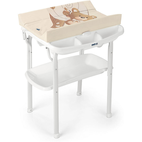 Пеленальный столик Cam Aqua Медвежонок бежевыйПеленальные столы<br>Характеристики:<br><br>• предназначен для детей с рождения до 12 месяцев;<br>• материал: пластик, металл, ПВХ;<br>• изготовлен из экологически чистых материалов;<br>• металлический каркас с закругленными углами;<br>• съемный мягкий пеленальный матрасик с системой безопасного крепления;<br>• анатомическая ванночка;<br>• может использоваться в 2-х позициях: для малышей 0 - 6 месяцев и 6 – 12 месяцев;<br>• оснащен подносом для губки, мыла и отверстием для подвода воды через трубку;<br>• 4 нескользящие ножки для устойчивости;<br>• легко моется.<br><br>Удобное приспособление помогает в уходе за малышом. Ребенок может безопасно находиться на пеленальном столике, пока мама его одевает, делает массаж или проводит гигиенические процедуры.<br><br>Глубокая ванночка с полочкой для мыла и других принадлежностей облегчает купание ребенка. Можно аккуратно мыть ребенка, не наклоняясь и не напрягая спину.<br><br>Светлая цветовая гамма отлично впишется в интерьер детской комнаты.<br><br>Габариты:<br><br>• в разложенном виде:63,4х61,7x102 см;<br>• в упаковке: 66х34х105 см.<br><br>Вес в упаковке: 10,9 кг.<br><br>Пеленальный столик Aqua Bebe «Медвежонок бежевый», Cam можно приобрести в нашем интернет-магазине.<br>Ширина мм: 654; Глубина мм: 269; Высота мм: 918; Вес г: 11520; Цвет: бежевый; Возраст от месяцев: 0; Возраст до месяцев: 12; Пол: Унисекс; Возраст: Детский; SKU: 7441101;