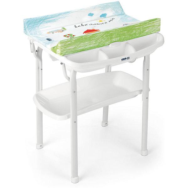 Пеленальный столик Cam Aqua Bebe amore mioПеленальные столы<br>Характеристики:<br><br>• предназначен для детей с рождения до 12 месяцев;<br>• материал: пластик, металл, ПВХ;<br>• изготовлен из экологически чистых материалов;<br>• металлический каркас с закругленными углами;<br>• съемный мягкий пеленальный матрасик с системой безопасного крепления;<br>• анатомическая ванночка;<br>• может использоваться в 2-х позициях: для малышей 0 - 6 месяцев и 6 – 12 месяцев;<br>• оснащен подносом для губки, мыла и отверстием для подвода воды через трубку;<br>• 4 нескользящие ножки для устойчивости;<br>• легко моется.<br><br>Удобное приспособление помогает в уходе за малышом. Ребенок может безопасно находиться на пеленальном столике, пока мама его одевает, делает массаж или проводит гигиенические процедуры.<br><br>Глубокая ванночка с полочкой для мыла и других принадлежностей облегчает купание ребенка. Можно аккуратно мыть ребенка, не наклоняясь и не напрягая спину. Светлая цветовая гамма отлично впишется в интерьер детской комнаты.<br><br>Габариты:<br><br>• в разложенном виде:63,4х61,7x102 см;<br>• в упаковке: 66х34х105 см.<br><br>Вес в упаковке: 10,9 кг.<br><br>Пеленальный столик Aqua Bebe amore mio, Cam можно приобрести в нашем интернет-магазине.<br>Ширина мм: 654; Глубина мм: 269; Высота мм: 918; Вес г: 11520; Возраст от месяцев: 0; Возраст до месяцев: 12; Пол: Унисекс; Возраст: Детский; SKU: 7441102;