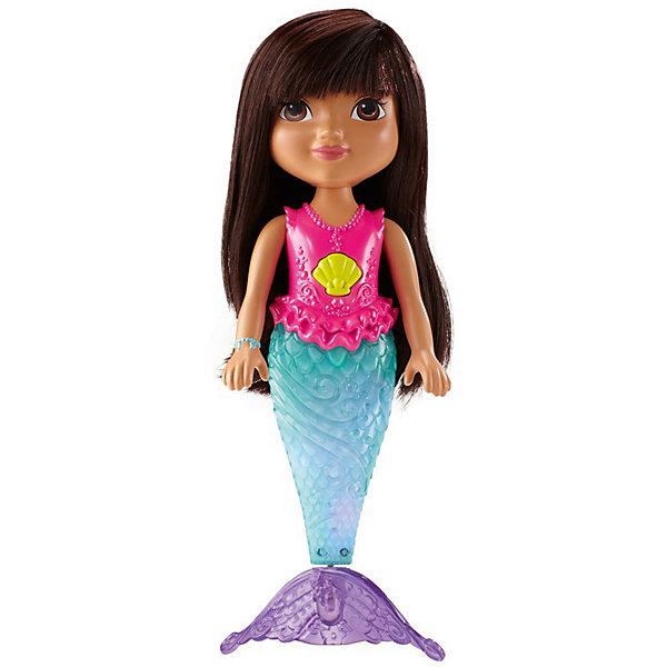 Кукла-русалка Fisher Price Дора и друзья, ДораИгрушки для купания<br>Характеристики:<br><br>• кукла Дора – русалка;<br>• игрушка для купания;<br>• волшебный хвостик переливается цветными огнями в воде;<br>• кукла держится на поверхности воды, плавает;<br>• подвижные конечности, голова поворачивается;<br>• кнопка активации – медальон на шее куклы. <br>• нейлоновые волосы можно расчесывать;<br>• материал: пластик, нейлон;<br>• тип батареек: 3 шт. типа AG13;<br>• батарейки включены в комплект;<br>• размер упаковки: 33х21х8,5 см;<br>• вес: 567 г.<br><br>Кукла для купания Русалка Дора – настоящий пловец. Хвост русалки помогает Доре держаться на поверхности воды и плавать в водных просторах. Волосы куклы можно мочить. Для активации световых эффектов необходимо нажать на медальон красавицы. <br><br>Искрящаяся русалка Дора, Mattel можно купить в нашем интернет-магазине.<br>Ширина мм: 85; Глубина мм: 215; Высота мм: 330; Вес г: 567; Возраст от месяцев: 36; Возраст до месяцев: 2147483647; Пол: Женский; Возраст: Детский; SKU: 7441236;