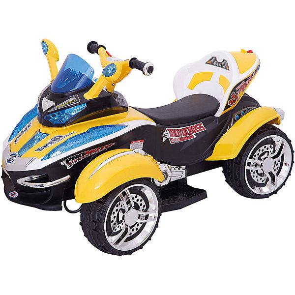 Электроквадроцикл Bugati, желтый (свет, звук)Электромобили<br>Характеристики товара:<br><br>• возраст: от 3 лет;<br>• максимальная нагрузка: 30 кг;<br>• материал: пластик, металл;<br>• в комплекте: машина, пульт;<br>• максимальная скорость: 3,5 км/час;<br>• аккумулятор: 12V;<br>• мощность мотора: 30W;<br>• размер квадроцикла: 107х66х61 см;<br>• размер упаковки: 107х66х61 см;<br>• вес упаковки: 19,5 кг;<br>• страна производитель: Китай.<br><br>Квадроцикл Bugati на аккумуляторе — увлекательная машина для детей на радиоуправлении. Квадроцикл оснащен удобным сидением со спинкой, подножкой, 4 устойчивыми широкими колесами. Колеса выполнены из резины, поэтому не повреждают напольное покрытие дома. При помощи пульта управления родители могут контролировать перемещения ребенка.<br><br>Световые и звуковые эффекты сделают езду еще увлекательней. Машина имеет разъем USB для подключения плеера, что позволит ребенку выбирать и слушать свои любимые композиции. Квадроцикл предназначен для катания одного ребенка и способен развивать скорость до 3,5 км/час. <br><br>Квадроцикл Bugati на аккумуляторе можно приобрести в нашем интернет-магазине.<br>Ширина мм: 1070; Глубина мм: 610; Высота мм: 660; Вес г: 19500; Возраст от месяцев: 36; Возраст до месяцев: 96; Пол: Мужской; Возраст: Детский; SKU: 7443042;