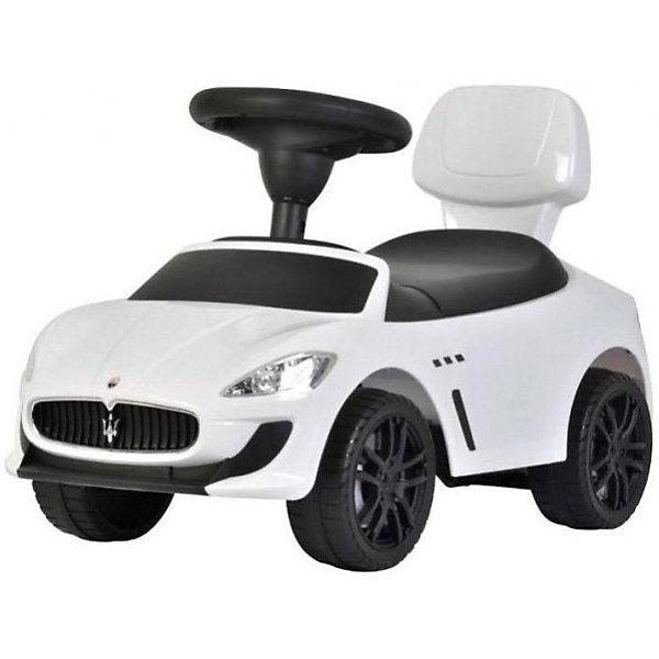 Машина-каталка Bugati Maserati, белаяМашинки-каталки<br>Характеристики товара:<br><br>• возраст: от 1 года;<br>• максимальная нагрузка: 20 кг;<br>• материал: пластик;<br>• размер упаковки: 67х37х29 см;<br>• вес упаковки: 4 кг;<br>• страна производитель: Китай.<br><br>Машина для катания Maserati белая — каталка с удобным сидением и спинкой. Малыш может самостоятельно совершать шаги, держась за спинку. Или же ездить на каталке, отталкиваясь ножками от пола. <br><br>Каталка оснащена 4 широкими устойчивыми колесами. На руле встроен музыкальный модуль, делающий игру еще увлекательней. Под сидением находится небольшой отсек для вещей и игрушек. Выполнена из качественного безопасного пластика.<br><br>Машину для катания Maserati белую можно приобрести в нашем интернет-магазине.<br>Ширина мм: 290; Глубина мм: 670; Высота мм: 370; Вес г: 4000; Возраст от месяцев: 12; Возраст до месяцев: 36; Пол: Мужской; Возраст: Детский; SKU: 7443046;