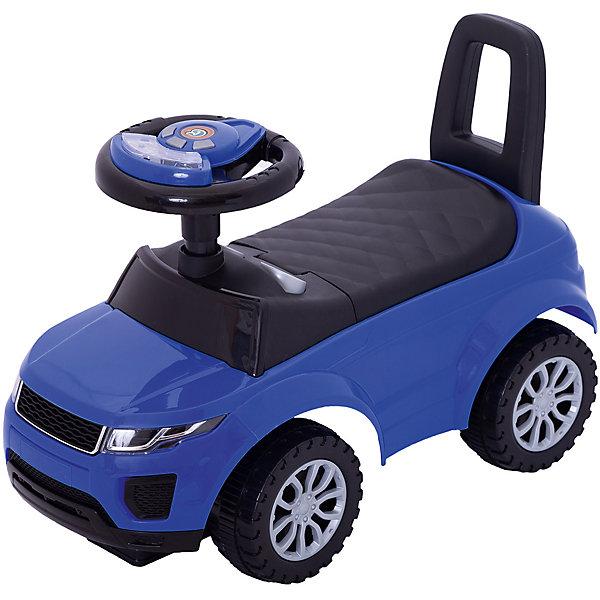 Машина-каталка Bugati с музыкой и светом, синяяМашинки-каталки<br>Характеристики товара:<br><br>• возраст: от 1 года;<br>• максимальная нагрузка: 20 кг;<br>• материал: пластик;<br>• размер упаковки: 62х43х28 см;<br>• вес упаковки: 2,6 кг;<br>• страна производитель: Китай.<br><br>Машина для катания Bugati синяя — каталка с удобным сидением и спинкой-ручкой. Малыш может самостоятельно совершать шаги, держась за спинку. Или же ездить на каталке, отталкиваясь ножками от пола. <br><br>Каталка оснащена 4 широкими устойчивыми колесами с дисками. На руле встроен модуль, активирующий световые и звуковые эффекты. Под сидением находится небольшой отсек для вещей и игрушек. Выполнена из качественного безопасного пластика.<br><br>Машину для катания Bugati синюю можно приобрести в нашем интернет-магазине.<br>Ширина мм: 620; Глубина мм: 430; Высота мм: 280; Вес г: 2600; Возраст от месяцев: 12; Возраст до месяцев: 36; Пол: Мужской; Возраст: Детский; SKU: 7443048;