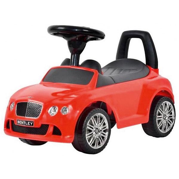 Машина-каталка Bugati Bentley, краснаяМашинки-каталки<br>Характеристики товара:<br><br>• возраст: от 1 года;<br>• максимальная нагрузка: 23 кг;<br>• материал: пластик;<br>• размер упаковки: 61х39х29 см;<br>• вес упаковки: 3,5 кг;<br>• страна производитель: Китай.<br><br>Машина для катания Bugati «Bentley» красная — каталка с удобным сидением и спинкой-ручкой. Малыш может самостоятельно совершать шаги, держась за спинку. Или же ездить на каталке, отталкиваясь ножками от пола. <br><br>Каталка оснащена 4 широкими устойчивыми колесами. На руле встроен модуль, активирующий звуковые эффекты. Под сидением находится небольшой отсек для вещей и игрушек. Выполнена из качественного безопасного пластика.<br><br>Машину для катания Bugati «Bentley» красную можно приобрести в нашем интернет-магазине.<br><br>Ширина мм: 390<br>Глубина мм: 610<br>Высота мм: 290<br>Вес г: 3500<br>Возраст от месяцев: 12<br>Возраст до месяцев: 36<br>Пол: Мужской<br>Возраст: Детский<br>SKU: 7443070