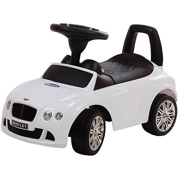 Машина-каталка Bugati Bentley, белаяМашинки-каталки<br>Характеристики товара:<br><br>• возраст: от 1 года;<br>• максимальная нагрузка: 23 кг;<br>• материал: пластик;<br>• размер упаковки: 61х39х29 см;<br>• вес упаковки: 3,5 кг;<br>• страна производитель: Китай.<br><br>Машина для катания Bugati «Bentley» белая — каталка с удобным сидением и спинкой-ручкой. Малыш может самостоятельно совершать шаги, держась за спинку. Или же ездить на каталке, отталкиваясь ножками от пола. <br><br>Каталка оснащена 4 широкими устойчивыми колесами. На руле встроен модуль, активирующий звуковые эффекты. Под сидением находится небольшой отсек для вещей и игрушек. Выполнена из качественного безопасного пластика.<br><br>Машину для катания Bugati «Bentley» белую можно приобрести в нашем интернет-магазине.<br>Ширина мм: 390; Глубина мм: 610; Высота мм: 290; Вес г: 3500; Возраст от месяцев: 12; Возраст до месяцев: 36; Пол: Мужской; Возраст: Детский; SKU: 7443076;