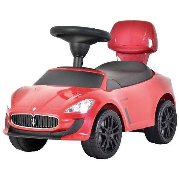 Машина-каталка Bugati Maserati, краснаяМашинки-каталки<br>Характеристики товара:<br><br>• возраст: от 1 года;<br>• максимальная нагрузка: 20 кг;<br>• материал: пластик;<br>• размер упаковки: 67х37х29 см;<br>• вес упаковки: 4 кг;<br>• страна производитель: Китай.<br><br>Машина для катания Maserati красная — каталка с удобным сидением и спинкой. Малыш может самостоятельно совершать шаги, держась за спинку. Или же ездить на каталке, отталкиваясь ножками от пола. <br><br>Каталка оснащена 4 широкими устойчивыми колесами. На руле встроен музыкальный модуль, делающий игру еще увлекательней. Под сидением находится небольшой отсек для вещей и игрушек. Выполнена из качественного безопасного пластика.<br><br>Машину для катания Maserati красную можно приобрести в нашем интернет-магазине.<br>Ширина мм: 290; Глубина мм: 670; Высота мм: 370; Вес г: 4000; Возраст от месяцев: 12; Возраст до месяцев: 36; Пол: Мужской; Возраст: Детский; SKU: 7443078;