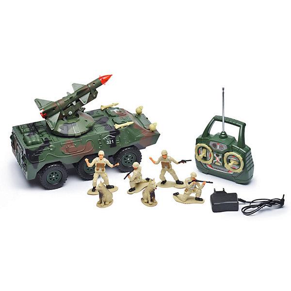 Радиоуправляемая машинка Mioshi Вездеход с ракетой, 30 смРадиоуправляемые машины<br>Характеристики:<br><br>• возраст: от 6 лет;<br>• материал: пластик;<br>• масштаб: 1:20;<br>• в комплекте: игрушка, пульт управления, 4 фигурки солдатиков, 2 фигурки собак;<br>• тип батареек: 2хАА;<br>• наличие батареек пульта: не в комплекте;<br>• функции: свет, звук;<br>• вес упаковки: 2,79 кг.;<br>• размер упаковки: 51х22х26 см;<br>• страна производитель: Китай.<br><br>«Вездеход с ракетой» Mioshi управляется с помощью удобного пульта дистанционно. С игрушкой легко устраивать сюжетные игры про войнушку, в наборе есть все, чтобы разыграть опасную сцену с участием военной техники, солдат и смелых псов.<br><br>Вездеход едет в четырех направлениях. Ракета, установленная сверху, движется и при этом светится, а машина издает характерные звуки.<br><br>Р/У игрушка «Вездеход с ракетой», Mioshi можно купить в нашем интернет-магазине.<br>Ширина мм: 510; Глубина мм: 220; Высота мм: 260; Вес г: 2790; Возраст от месяцев: 36; Возраст до месяцев: 72; Пол: Мужской; Возраст: Детский; SKU: 7448753;