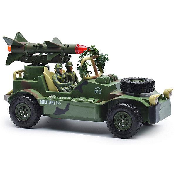 Радиоуправляемая машинка Mioshi Военный джип с ракетной установкой, 30 смРадиоуправляемые машины<br>Характеристики:<br><br>• возраст: от 6 лет;<br>• материал: пластик;<br>• масштаб: 1:20;<br>• в комплекте: игрушка, пульт управления, 2 фигурки солдатиков, фигурка собаки;<br>• тип батареек: 2хАА;<br>• наличие батареек пульта: не в комплекте;<br>• функции: свет, звук;<br>• вес упаковки: 2,79 кг.;<br>• размер упаковки: 51х22х26 см;<br>• страна производитель: Китай.<br><br>«Военный джип с ракетной установкой» Mioshi управляется с помощью удобного пульта дистанционно. С игрушкой легко устраивать сюжетные игры про войнушку, в наборе есть все, чтобы разыграть опасную сцену с участием военной техники, солдат и смелого пса.<br><br>Джип едет в четырех направлениях. Ракета, установленная сверху, движется и при этом светится, а машина издает характерные звуки.<br><br>Р/У игрушка «Военный джип с ракетной установкой», Mioshi можно купить в нашем интернет-магазине.<br>Ширина мм: 435; Глубина мм: 170; Высота мм: 250; Вес г: 1628; Возраст от месяцев: 36; Возраст до месяцев: 72; Пол: Мужской; Возраст: Детский; SKU: 7448757;