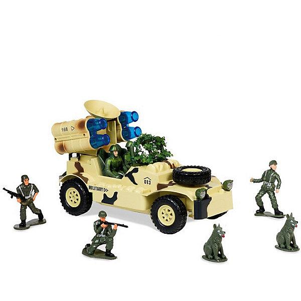 Радиоуправляемая машинка Mioshi Военный джип с радаром и ракетной установкой, 30 смВоенный транспорт<br>Характеристики:<br><br>• возраст: от 6 лет;<br>• материал: пластик;<br>• масштаб: 1:20;<br>• в комплекте: игрушка, пульт управления, 4 фигурки солдатиков, 2 фигурки собак;<br>• тип батареек: 2хАА;<br>• наличие батареек пульта: не в комплекте;<br>• функции: свет, звук;<br>• вес упаковки: 1,62 кг.;<br>• размер упаковки: 43,5х17х25 см;<br>• страна производитель: Китай.<br><br>«Военный джип с радаром и ракетной установкой» Mioshi управляется с помощью удобного пульта дистанционно. С игрушкой легко устраивать сюжетные игры про войнушку, в наборе есть все, чтобы разыграть опасную сцену с участием военной техники, солдат и смелых псов.<br><br>Джип едет в четырех направлениях. Пушка, установленная сверху, двигается и при этом светится, а машина издает характерные звуки.<br><br>Р/У игрушка «Военный джип с радаром и ракетной установкой», Mioshi можно купить в нашем интернет-магазине.<br>Ширина мм: 510; Глубина мм: 220; Высота мм: 260; Вес г: 2790; Возраст от месяцев: 36; Возраст до месяцев: 72; Пол: Мужской; Возраст: Детский; SKU: 7448759;