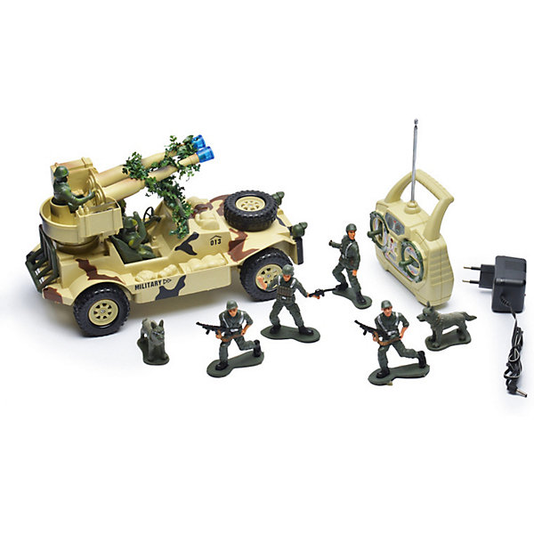 Радиоуправляемая машинка Mioshi Военный джип с пулеметной установкой, 30 смВоенный транспорт<br>Характеристики:<br><br>• возраст: от 6 лет;<br>• материал: пластик;<br>• масштаб: 1:20;<br>• в комплекте: игрушка, пульт управления, 4 фигурки солдатиков, 2 фигурки собак;<br>• тип батареек: 2хАА;<br>• наличие батареек пульта: не в комплекте;<br>• функции: свет, звук;<br>• вес упаковки: 2,79 кг.;<br>• размер упаковки: 51х22х26 см;<br>• страна производитель: Китай.<br><br>«Военный джип с пулеметной установкой» Mioshi управляется с помощью удобного пульта дистанционно. С игрушкой легко устраивать сюжетные игры про войнушку, в наборе есть все, чтобы разыграть опасную сцену с участием военной техники, солдат и смелых псов.<br><br>Джип едет в четырех направлениях. Пушка, установленная сверху, крутится вокруг своей оси и при этом светится, а машина издает характерные звуки.<br><br>Р/У игрушка «Военный джип с пулеметной установкой», Mioshi можно купить в нашем интернет-магазине.<br>Ширина мм: 510; Глубина мм: 220; Высота мм: 260; Вес г: 2790; Возраст от месяцев: 36; Возраст до месяцев: 72; Пол: Мужской; Возраст: Детский; SKU: 7448763;