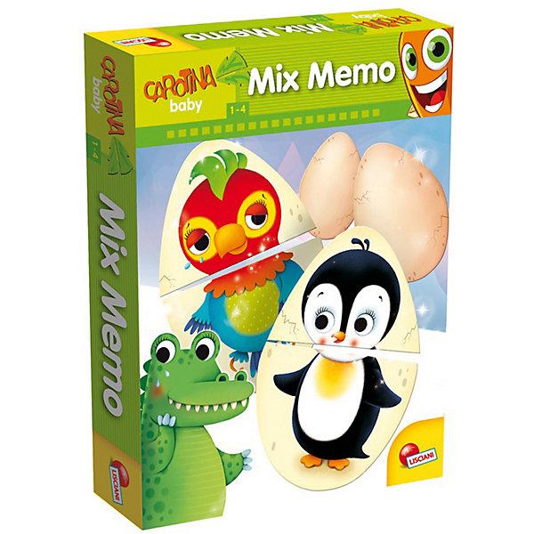 Обучающая игра МЕМОРИ-МИКС (3 в 1), LiscianiИгры мемо<br>Baby Mix Memoпредставляет собой игру 3 в 1:<br>1. Игра-паззл Собери яйцо<br>2. Игра Мемори<br>3. Лото<br>В процессе игры дети знакомятся с детенышами <br>животных, которые вылупляются из яиц.<br>Состав набора:<br>16 больших карточек- паззлов (размер - 24х17 см),<br>16 парных маленьких карточек с изображениями животных (всего - 8 пар).<br>Для детей 1-4 лет.<br>Продукт разработан в Италии, в Центре Исследований и Разработки Lisciani.<br><br>Ширина мм: 9999<br>Глубина мм: 9999<br>Высота мм: 9999<br>Вес г: 9999<br>Возраст от месяцев: 12<br>Возраст до месяцев: 2147483647<br>Пол: Унисекс<br>Возраст: Детский<br>SKU: 7450868