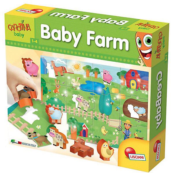 Паззл для самых маленьких с 3-D фигурками «МОЯ ФЕРМА», LiscianiПазлы для малышей<br>Характеристики товара:<br><br>• возраст: от 1 года;<br>• количество деталей: 18;<br>• размер пазла: 50х70 см;<br>• примерный размер фигурок: 8 см;<br>• материал: картон, пластик;<br>• размер упаковки: 6х26х29 см;<br>• страна бренда: Италия.<br><br>Пазл «Моя ферма» познакомит малышей с домашними животными, а также поможет в развитии мелкой моторики, усидчивости, логического мышления и воображения. Пазл состоит из двенадцати крупных деталей, внутри которых находятся объемные фигурки, выполненные в виде животных. <br><br>С устойчивыми фигурками можно играть отдельно. Красочный пазл с изображением животных - отличная возможность развить речевые навыки, пространственное мышление и расширить кругозор.<br><br>Паззл для самых маленьких с 3-D фигурками «Моя ферма», Lisciani (Лисциани) можно купить в нашем интернет-магазине.<br>Ширина мм: 285; Глубина мм: 255; Высота мм: 60; Вес г: 998; Возраст от месяцев: 12; Возраст до месяцев: 2147483647; Пол: Унисекс; Возраст: Детский; SKU: 7450869;