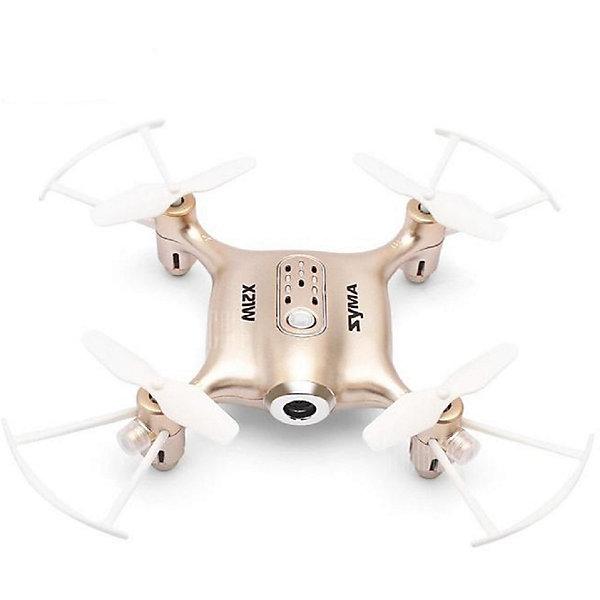 Квадрокоптер с WiFi камерой  SYMA X21W золотистыйКвадрокоптеры<br>Характеристики:  <br>Габариты квадрокоптера, мм: 136 x 31 x 136 <br>Управление: 2.4G пульт, телефон iOS,OS Android.<br>Камера: HD  <br>Гироскоп: Шестиосевой <br>Аккумулятора: Li-Poly аккумулятор 3.7 В (380 мАч)<br>Полетное время 7-8 минут <br>Страна производства: Китай <br>   <br>Комплектация:  <br>Квадрокоптер  <br>Пульт управления  <br>Зарядное устройство USB <br>Лопасти   <br>Li-Poly аккумулятор  <br>Держатель для мобильного телефона<br>Инструкция  <br>   <br>Квадрокоптер радиоуправляемый Syma X21W – Это модель новой формации, которая подарит своему обладателю еще больше возможностей для эффектного пилотирования и видеосъемки.<br>Автоматический взлет и посадка сделали эту модель незаменимой для новичков и детей.<br>Эргономичная форма с широким и плоским корпусом, а также Х-образной рамой обеспечивает модели необходимую устойчивость. Функция удержания высоты и 6-осевой гироскоп позволяет снимать  качественное видео. Камера позволит «пилоту» транслировать видео через Wi-Fi на экран телефона при помощи специального приложения для мобильных устройств. <br>Светодиоды  сделают увлекательными полеты в темное время суток.  Экстремальные  пользователи обрадуются возможности выполнять эффектные бекфлипы на 360 градусов.<br>Ширина мм: 320; Глубина мм: 200; Высота мм: 80; Вес г: 440; Возраст от месяцев: 96; Возраст до месяцев: 2147483647; Пол: Унисекс; Возраст: Детский; SKU: 7451135;