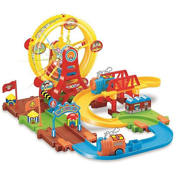 Железная дорога Devik Toys Колесо обозрения с поездомЖелезные дороги<br>Характеристики товара:<br><br>• световые и звуковые эффекты;<br>• возраст: от 3 лет;<br>• размер: 37,5х37х21 см;<br>• материал: пластик;<br>• размер упаковки: 10х40х30 см;<br>• страна производитель: Китай.<br><br>Яркая железная дорога - мечта каждого мальчишки. Набор от Devik Toys обязательно порадует маленького железнодорожника. Игровая площадка - это большой парк аттракционов с разнообразными поворотами, спусками, подъемами, колесом обозрения и веселыми картинками. По этой дороге помчится маленький паровозик, а световое и звуковое сопровождение сделает игру еще более эффектной. <br><br>Игра с таким замечательным набором отлично развивает мелкую моторику, воображение, фантазию и координацию движений. Все детали набора изготовлены из высококачественных, безопасных для детей материалов. Для работы потребуются батарейки (не входят в комплект).<br><br>Железнодорожный набор,  37.5*37*21см, поезд в комплекте, со световыми и звуковыми эффектами, Devik Toys (Девик Тойс) можно купить в нашем интернет-магазине.<br>Ширина мм: 375; Глубина мм: 210; Высота мм: 370; Вес г: 1200; Возраст от месяцев: 36; Возраст до месяцев: 2147483647; Пол: Унисекс; Возраст: Детский; SKU: 7452443;