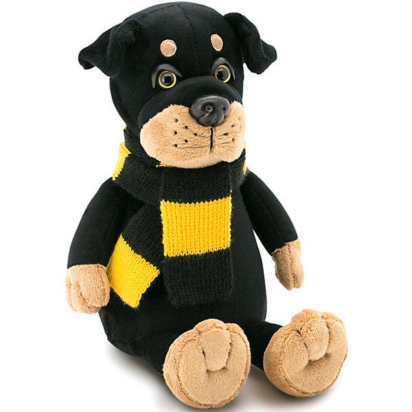 Мягкая игрушка Orange Ротвейлер Бакс, 20 смМягкие игрушки животные<br>Характеристики товара:<br><br>• возраст: от 3 лет;<br>• цвет: черно-желтый;<br>• из чего сделана игрушка (состав): мех искусственный, текстильные материалы и элементы из пластмассы;<br>• наполнитель - волокно полиэфирное и полиэтиленовые гранулы;<br>• высота игрушки: 20 см.;<br>• вес:125гр.;<br>• страна обладатель бренда: Россия.<br><br>Ротвейлер Бакс - классическая мягкая игрушка, которая внесет в дом атмосферу праздника. Собачка с зимними аксессуарами по достоинству займет свое место на камине, книжной полке или рядом с новогодней елкой. Она отличается мастерством исполнения и неизменно вызывает добрые чувства. Ротвейлер Бакс всегда напомнит о приятных моментах, связанных с семейными торжествами.<br><br>Мягкую игрушку «Ротвейлер Бакс» 20 см., можно купить в нашем интернет-магазине.<br>Ширина мм: 170; Глубина мм: 100; Высота мм: 200; Вес г: 125; Возраст от месяцев: 36; Возраст до месяцев: 2147483647; Пол: Унисекс; Возраст: Детский; SKU: 7452805;