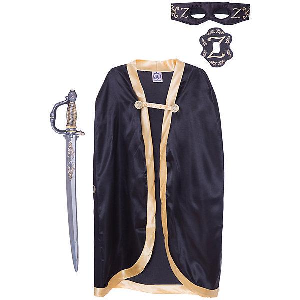 Набор Z Зорро, Lion Touch (Плащ, Маска, Шпага)Карнавальные костюмы для мальчиков<br>Характеристики товара:<br><br>• возраст: от 3 лет;<br>• материал: текстиль, EVA;<br>• в комплекте: шпага, плащ, маска;<br>• размер упаковки: 45х35х10 см;<br>• вес упаковки: 400 гр.;<br>• страна производитель: Китай.<br><br>Игровой набор «Z Зорро» Lion Touch позволит мальчишкам почувствовать себя настоящими рыцарями и устроить с друзьями захватывающие поединки. Набор подойдет не только для праздников или карнавала, но и для обычных игр дома с друзьями. Меч выполнен из безопасных материалов и не нанесет травм во время игры.<br><br>Игровой набор «Z Зорро» Lion Touch можно приобрести в нашем интернет-магазине.<br>Ширина мм: 450; Глубина мм: 350; Высота мм: 100; Вес г: 400; Возраст от месяцев: 36; Возраст до месяцев: 2147483647; Пол: Мужской; Возраст: Детский; SKU: 7454182;