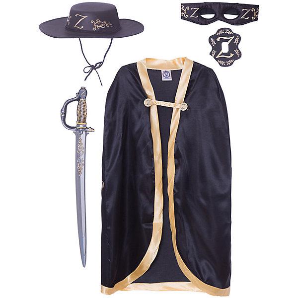 Набор Z Зорро, Lion Touch (Плащ, Шляпа, Маска,Шпага)Карнавальные костюмы для мальчиков<br>Характеристики товара:<br><br>• возраст: от 3 лет;<br>• материал: текстиль, EVA;<br>• в комплекте: шпага, плащ, маска, шляпа;<br>• размер упаковки: 45х35х10 см;<br>• вес упаковки: 400 гр.;<br>• страна производитель: Китай.<br><br>Игровой набор «Z Зорро» Lion Touch позволит мальчишкам почувствовать себя настоящими рыцарями и устроить с друзьями захватывающие поединки. Набор подойдет не только для праздников или карнавала, но и для обычных игр дома с друзьями. Меч выполнен из безопасных материалов и не нанесет травм во время игры.<br><br>Игровой набор «Z Зорро» Lion Touch можно приобрести в нашем интернет-магазине.<br>Ширина мм: 450; Глубина мм: 350; Высота мм: 100; Вес г: 400; Возраст от месяцев: 36; Возраст до месяцев: 2147483647; Пол: Мужской; Возраст: Детский; SKU: 7454183;