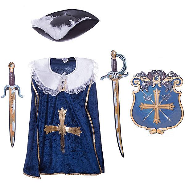 Набор Мушкетеры, Lion Touch (Плащ, Щит,Меч,Меч, Шляпа)Карнавальные костюмы для мальчиков<br>Характеристики товара:<br><br>• возраст: от 3 лет;<br>• материал: текстиль, EVA;<br>• в комплекте: 2 меча, плащ, щит, шляпа;<br>• размер упаковки: 45х35х10 см;<br>• вес упаковки: 400 гр.;<br>• страна производитель: Китай.<br><br>Игровой набор «Мушкетеры» Lion Touch позволит мальчишкам почувствовать себя настоящими рыцарями и устроить с друзьями захватывающие поединки. Набор подойдет не только для праздников или карнавала, но и для обычных игр дома с друзьями. Меч выполнен из безопасных материалов и не нанесет травм во время игры.<br><br>Игровой набор «Мушкетеры» Lion Touch можно приобрести в нашем интернет-магазине.<br>Ширина мм: 450; Глубина мм: 350; Высота мм: 100; Вес г: 400; Возраст от месяцев: 36; Возраст до месяцев: 2147483647; Пол: Мужской; Возраст: Детский; SKU: 7454186;