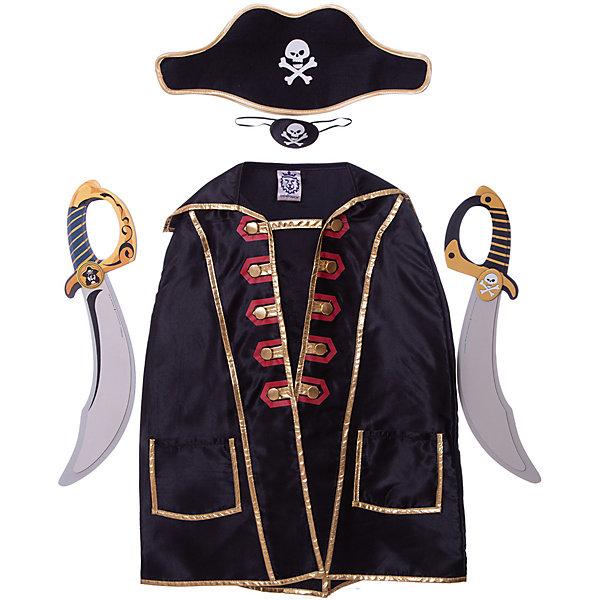 Набор пирата Капитан Кросс, Lion Touch (Плащ,Повязка,Шляпа,Сабля-2шт.)Карнавальные костюмы для мальчиков<br>Характеристики товара:<br><br>• возраст: от 3 лет;<br>• материал: текстиль, EVA;<br>• в комплекте: плащ, шляпа, 2 сабли, повязка;<br>• размер упаковки: 45х35х10 см;<br>• вес упаковки: 400 гр.;<br>• страна производитель: Китай.<br><br>Игровой набор «Капитан Кросс» Lion Touch позволит мальчишкам почувствовать себя настоящими пиратами и отправиться на поиски сокровищ. Набор подойдет не только для праздников или карнавала, но и для обычных игр дома с друзьями. Сабли выполнены из безопасных материалов и не нанесут травм во время игры.<br><br>Игровой набор «Капитан Кросс» Lion Touch можно приобрести в нашем интернет-магазине.<br>Ширина мм: 450; Глубина мм: 350; Высота мм: 100; Вес г: 400; Возраст от месяцев: 36; Возраст до месяцев: 2147483647; Пол: Мужской; Возраст: Детский; SKU: 7454188;