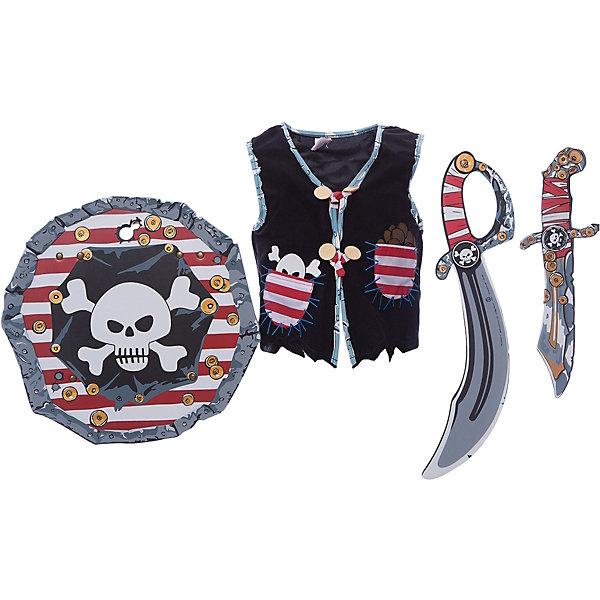 Набор для пирата, Lion Touch (Жилет,Щит,Сабля,Нож,Крюк)Карнавальные костюмы для мальчиков<br>Характеристики товара:<br><br>• возраст: от 3 лет;<br>• материал: текстиль, EVA;<br>• в комплекте: жилет, щит, сабля, нож, крюк;<br>• размер упаковки: 45х35х10 см;<br>• вес упаковки: 400 гр.;<br>• страна производитель: Китай.<br><br>Набор для пирата Lion Touch позволит мальчишкам почувствовать себя настоящими пиратами и отправиться на поиски сокровищ. Набор подойдет не только для праздников или карнавала, но и для обычных игр дома с друзьями. Оружие выполнено из безопасных материалов и не нанесет травм во время игры.<br><br>Набор для пирата Lion Touch можно приобрести в нашем интернет-магазине.<br>Ширина мм: 450; Глубина мм: 350; Высота мм: 100; Вес г: 400; Возраст от месяцев: 36; Возраст до месяцев: 2147483647; Пол: Мужской; Возраст: Детский; SKU: 7454190;