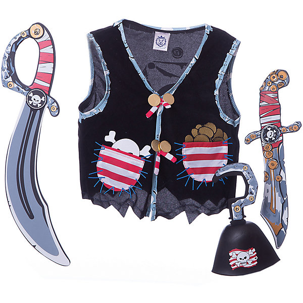 Набор для пирата, Lion Touch (Жилет,Сабля,Нож,Крюк)Карнавальные костюмы для мальчиков<br>Характеристики товара:<br><br>• возраст: от 3 лет;<br>• материал: текстиль, EVA;<br>• в комплекте: жилет, сабля, нож, крюк;<br>• размер упаковки: 45х35х10 см;<br>• вес упаковки: 400 гр.;<br>• страна производитель: Китай.<br><br>Набор для пирата Lion Touch позволит мальчишкам почувствовать себя настоящими пиратами и отправиться на поиски сокровищ. Набор подойдет не только для праздников или карнавала, но и для обычных игр дома с друзьями. Оружие выполнено из безопасных материалов и не нанесет травм во время игры.<br><br>Набор для пирата Lion Touch можно приобрести в нашем интернет-магазине.<br>Ширина мм: 450; Глубина мм: 350; Высота мм: 100; Вес г: 400; Возраст от месяцев: 36; Возраст до месяцев: 2147483647; Пол: Мужской; Возраст: Детский; SKU: 7454191;