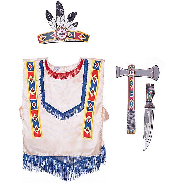 Набор Индейцы Навахо, Lion Touch (Пончо,Повязка,Нож,Топорик)Карнавальные костюмы для мальчиков<br>Характеристики товара:<br><br>• возраст: от 3 лет;<br>• материал: текстиль, EVA;<br>• в комплекте: пончо, повязка, нож, топорик;<br>• размер упаковки: 45х35х10 см;<br>• вес упаковки: 400 гр.;<br>• страна производитель: Китай.<br><br>Игровой набор «Индейцы Навахо» Lion Touch позволит мальчишкам почувствовать себя настоящими индейцами и отправиться на встречу приключениям. Набор подойдет не только для праздников или карнавала, но и для обычных игр дома с друзьями. Оружие выполнено из безопасных материалов и не нанесет травм во время игры.<br><br>Игровой набор «Индейцы Навахо» Lion Touch можно приобрести в нашем интернет-магазине.<br>Ширина мм: 450; Глубина мм: 350; Высота мм: 100; Вес г: 400; Возраст от месяцев: 36; Возраст до месяцев: 2147483647; Пол: Унисекс; Возраст: Детский; SKU: 7454202;