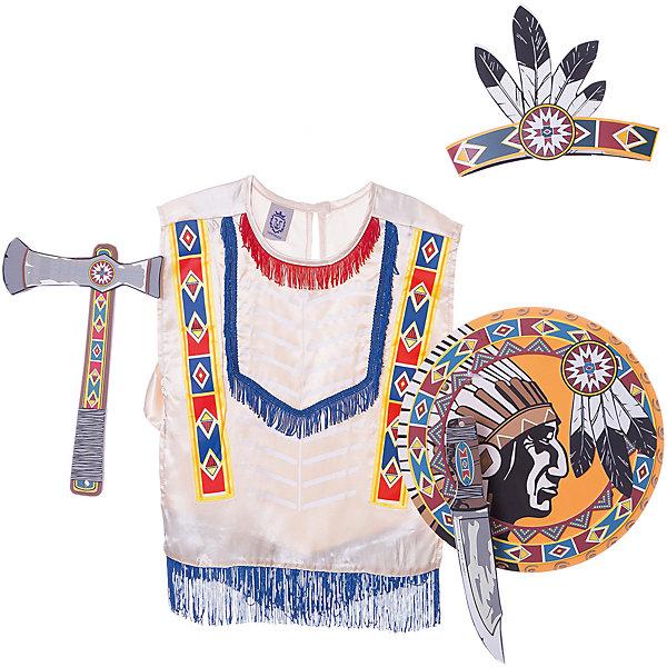 Набор Индейцы Навахо, Lion Touch (Пончо,Щит,Повязка,Нож,Топорик)Карнавальные костюмы для мальчиков<br>Характеристики товара:<br><br>• возраст: от 3 лет;<br>• материал: текстиль, EVA;<br>• в комплекте: пончо, щит, повязка, нож, топорик;<br>• размер упаковки: 45х35х10 см;<br>• вес упаковки: 400 гр.;<br>• страна производитель: Китай.<br><br>Игровой набор «Индейцы Навахо» Lion Touch позволит мальчишкам почувствовать себя настоящими индейцами и отправиться на встречу приключениям. Набор подойдет не только для праздников или карнавала, но и для обычных игр дома с друзьями. Оружие выполнено из безопасных материалов и не нанесет травм во время игры.<br><br>Игровой набор «Индейцы Навахо» Lion Touch можно приобрести в нашем интернет-магазине.<br>Ширина мм: 450; Глубина мм: 350; Высота мм: 100; Вес г: 400; Возраст от месяцев: 36; Возраст до месяцев: 2147483647; Пол: Унисекс; Возраст: Детский; SKU: 7454203;