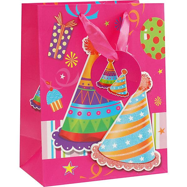 Пакет Твой день 18*23*10 смДетские подарочные пакеты<br>Характеристики товара:<br><br>• размер пакета: 18х23х10 см;<br>• материал: бумага, текстиль;<br>• толщина бумаги: 210 г/м2;<br>• цвет: розовый;<br>• размер упаковки: 25х20х1 см;<br>• страна бренда: Россия.<br><br>Подарочный пакет «Твой день» - прекрасное дополнение к основному подарку имениннику. Он выполнен в ярком розовом цвете, украшен изображением необходимых атрибутов праздника, а также объемным изображением праздничных колпаков. Широкие ручки из текстиля удобны для переноски пакета. <br><br>Пакет «Твой день» 18*23*10 см, Белоснежка можно купить в нашем интернет-магазине.<br>Ширина мм: 180; Глубина мм: 100; Высота мм: 230; Вес г: 50; Возраст от месяцев: 36; Возраст до месяцев: 2147483647; Пол: Унисекс; Возраст: Детский; SKU: 7454253;