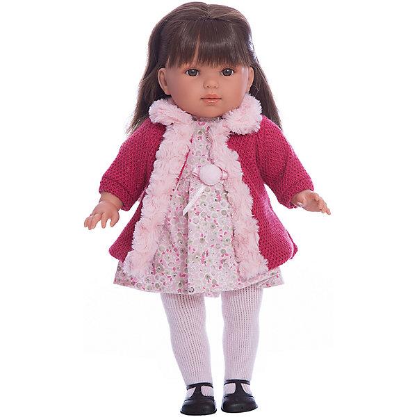 Классическая кукла Llorens Лаура, 45 смКуклы<br>Характеристики:<br><br>• возраст: от 3 лет<br>• тип куклы: мягконабивная<br>• глаза не закрываются<br>• высота: 45 см.<br>• материал: винил, пластик, текстиль<br>• упаковка: красивая картонная коробка<br><br>Кукла Лаура от испанского бренда Llorens (Ллоренс) станет любимой куклой девочки и главной героиней увлекательных сюжетных игр.<br><br>У куклы аккуратные выразительные черты лица с тонко переданной детской мимикой: пухлые щёчки, слегка приоткрытые губки и карие глазки с пушистыми ресничками (глаза не закрываются). Длинные шикарные темные волосы куклы можно расчесывать и заплетать. Волосы прошивные, они не выпадают и не ломаются.<br><br>Лаура одета в платье с красивым цветочным узором, украшенное бантиком и помпоном, и красное вязаное пальто с белой меховой оторочкой, на ногах - белые трикотажные колготы и чёрные туфельки. Одежду и обувь при желании можно снять.<br><br>Тело куклы мягконабивное, а ручки, ножки и личико выполнены из приятного для тактильных ощущений винила. Ручки и ножки подвижны.<br><br>Кукла изготовлена из качественных материалов, сертифицированных для производства детских товаров.<br><br>Куклу Лаура, 45 см можно купить в нашем интернет-магазине.<br>Ширина мм: 23; Глубина мм: 12; Высота мм: 47; Вес г: 1150; Возраст от месяцев: 36; Возраст до месяцев: 2147483647; Пол: Женский; Возраст: Детский; SKU: 7456388;