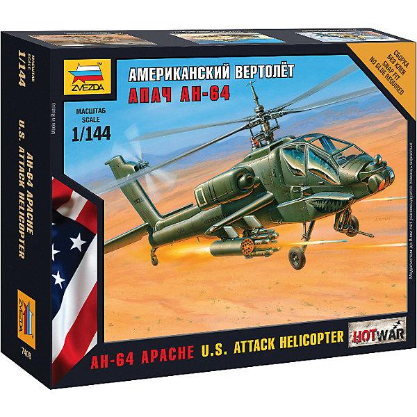 Сборная модель  Американский вертолёт АпачСамолеты и вертолеты<br>Характеристики:<br><br>• возраст: от 7 лет;<br>• материал: пластик;<br>• масштаб: 1:144;<br>• количество элементов: 21;<br>• клей и краски: не в комплекте;<br>• в наборе: вертолет, подставка, карточка отряда, декаль;<br>• длина модели: 10,5 см;<br>• вес упаковки: 55 гр.;<br>• размер упаковки: 13х16х4 см;<br>• страна производитель: Россия.<br><br>Чтобы собрать модель Zvezda «Американский вертолёт Апач» не понадобится клей. Элементы надежно скрепляются между собой. Каждая деталь легко и без повреждений отсоединяется от литника. Вертолет можно раскрасить по цветам из инструкции.<br><br>Сборка улучшает внимательность, мелкую моторику и пространственное мышление. Готовая модель является частью игровой системы Art of Tactic Hot War, выглядит реалистично и отличается прочностью. Набор выполнен из качественных безопасных материалов.<br><br>Сборную модель «Американский вертолёт Апач» можно купить в нашем интернет-магазине.<br>Ширина мм: 130; Глубина мм: 160; Высота мм: 40; Вес г: 55; Возраст от месяцев: 84; Возраст до месяцев: 2147483647; Пол: Унисекс; Возраст: Детский; SKU: 7459613;