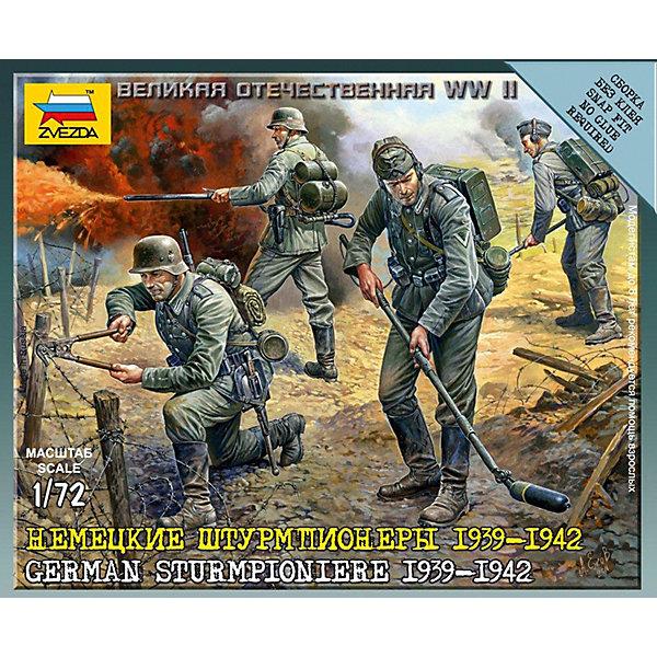 Сборная модель  Немецкие штурмпионерыВоенная техника и панорама<br>Характеристики:<br><br>• возраст: от 7 лет;<br>• материал: пластик;<br>• масштаб: 1:72;<br>• клей и краски: не в комплекте;<br>• в наборе: 4 солдатика, инженерные сооружения 8 шт.;<br>• вес упаковки: 50 гр.;<br>• размер упаковки: 12х14,5х2 см;<br>• страна производитель: Россия.<br><br>Чтобы собрать модель Zvezda «Немецкие штурмпионеры» не понадобится клей. Элементы надежно скрепляются между собой. Каждая деталь легко и без повреждений отсоединяется от литника. Солдатиков можно раскрасить по цветам из инструкции.<br><br>Сборка улучшает внимательность, мелкую моторику и пространственное мышление. Готовые фигурки являются частью игровой системы Art of Tactic «Великая Отечественная», выглядят реалистично и отличаются прочностью. Набор понравится не только игрокам, но и моделистам-коллекционерам. Набор выполнен из качественных безопасных материалов.<br><br>Сборную модель «Немецкие штурмпионеры» можно купить в нашем интернет-магазине.<br>Ширина мм: 120; Глубина мм: 145; Высота мм: 20; Вес г: 50; Возраст от месяцев: 84; Возраст до месяцев: 2147483647; Пол: Унисекс; Возраст: Детский; SKU: 7459623;
