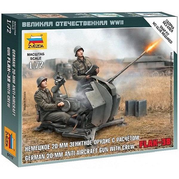 Сборная модель  Немецкое 20-мм зенитное орудие FLAK-38 с расчетомВоенная техника и панорама<br>Характеристики:<br><br>• возраст: от 7 лет;<br>• материал: пластик;<br>• масштаб: 1:72;<br>• количество элементов: 20;<br>• клей и краски: не в комплекте;<br>• в наборе: 2 солдатика, зенитное орудие, отрядная подставка с флагом, карточка отряда;<br>• длина модели: 3 см;<br>• вес упаковки: 55 гр.;<br>• размер упаковки: 12х14,5х2 см;<br>• страна производитель: Россия.<br><br>Чтобы собрать модель Zvezda «Немецкое 20-мм зенитное орудие FLAK-38 с расчетом» не понадобится клей. Элементы надежно скрепляются между собой. Каждая деталь легко и без повреждений отсоединяется от литника. Солдатиков можно раскрасить по цветам из инструкции.<br><br>Сборка улучшает внимательность, мелкую моторику и пространственное мышление. Готовые фигурки являются частью игровой системы Art of Tactic «Великая Отечественная», выглядят реалистично и отличаются прочностью. Набор понравится не только игрокам, но и моделистам-коллекционерам. Набор выполнен из качественных безопасных материалов.<br><br>Сборную модель «Немецкое 20-мм зенитное орудие FLAK-38 с расчетом» можно купить в нашем интернет-магазине.<br>Ширина мм: 120; Глубина мм: 145; Высота мм: 20; Вес г: 55; Возраст от месяцев: 84; Возраст до месяцев: 2147483647; Пол: Унисекс; Возраст: Детский; SKU: 7459628;