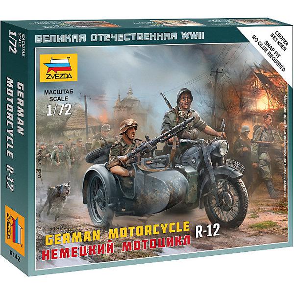 Сборная модель  Немецкий мотоцикл R-12Военная техника и панорама<br>Характеристики:<br><br>• возраст: от 7 лет;<br>• материал: пластик;<br>• масштаб: 1:72;<br>• количество элементов: 20;<br>• клей и краски: не в комплекте;<br>• в наборе: 2 солдатика, мотоцикл, отрядная подставка, карточка отряда;<br>• длина модели: 3,3 см;<br>• вес упаковки: 40 гр.;<br>• размер упаковки: 12х14,5х2 см;<br>• страна производитель: Россия.<br><br>Чтобы собрать модель Zvezda «Немецкий мотоцикл R-12» не понадобится клей. Элементы надежно скрепляются между собой. Каждая деталь легко и без повреждений отсоединяется от литника. Солдатиков можно раскрасить по цветам из инструкции.<br><br>Сборка улучшает внимательность, мелкую моторику и пространственное мышление. Готовые фигурки являются частью игровой системы Art of Tactic «Великая Отечественная», выглядят реалистично и отличаются прочностью. Набор понравится не только игрокам, но и моделистам-коллекционерам. Набор выполнен из качественных безопасных материалов.<br><br>Сборную модель «Немецкий мотоцикл R-12» можно купить в нашем интернет-магазине.<br>Ширина мм: 120; Глубина мм: 145; Высота мм: 20; Вес г: 40; Возраст от месяцев: 84; Возраст до месяцев: 2147483647; Пол: Унисекс; Возраст: Детский; SKU: 7459635;