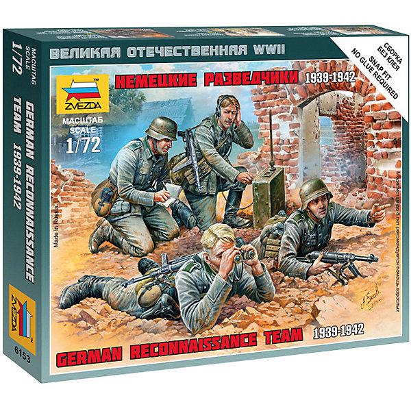 Сборная модель  Немецкие разведчики 1939-42ггВоенная техника и панорама<br>Характеристики:<br><br>• возраст: от 7 лет;<br>• материал: пластик;<br>• масштаб: 1:72;<br>• количество элементов: 22;<br>• клей и краски: не в комплекте;<br>• в наборе: 4 солдатика, отрядная подставка с флагом, карточка отряда;<br>• длина модели: 2,4 см;<br>• вес упаковки: 35 гр.;<br>• размер упаковки: 12х14,5х2 см;<br>• страна производитель: Россия.<br><br>Чтобы собрать модель Zvezda «Немецкие разведчики 1939-42 гг.» не понадобится клей. Элементы надежно скрепляются между собой. Каждая деталь легко и без повреждений отсоединяется от литника. Модель можно раскрасить по цветам из инструкции.<br><br>Сборка улучшает внимательность, мелкую моторику и пространственное мышление. Готовые фигурки являются частью игровой системы Art of Tactic «Великая Отечественная», выглядят реалистично и отличаются прочностью. Набор понравится не только игрокам, но и моделистам-коллекционерам. Набор выполнен из качественных безопасных материалов.<br><br>Сборную модель «Немецкие разведчики 1939-42 гг.» можно купить в нашем интернет-магазине.<br>Ширина мм: 120; Глубина мм: 145; Высота мм: 20; Вес г: 35; Возраст от месяцев: 84; Возраст до месяцев: 2147483647; Пол: Унисекс; Возраст: Детский; SKU: 7459638;