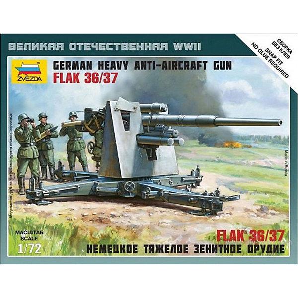 Сборная модель  Немецкое зенитное орудие FLAK-36 с расчетомВоенная техника и панорама<br>Характеристики:<br><br>• возраст: от 7 лет;<br>• материал: пластик;<br>• масштаб: 1:72;<br>• количество элементов: 45;<br>• клей и краски: не в комплекте;<br>• в наборе: 4 солдатика, зенитное орудие, отрядная подставка с флагом, карточка отряда;<br>• длина модели: 9,2 см;<br>• вес упаковки: 60 гр.;<br>• размер упаковки: 12,9х16,2х3,8 см;<br>• страна производитель: Россия.<br><br>Чтобы собрать модель Zvezda «Немецкое зенитное орудие FLAK-36 с расчетом» не понадобится клей. Элементы надежно скрепляются между собой. Каждая деталь легко и без повреждений отсоединяется от литника. Модель можно раскрасить по цветам из инструкции.<br><br>Сборка улучшает внимательность, мелкую моторику и пространственное мышление. Готовые фигурки являются частью игровой системы Art of Tactic «Великая Отечественная», выглядят реалистично и отличаются прочностью. Набор понравится не только игрокам, но и моделистам-коллекционерам. Набор выполнен из качественных безопасных материалов.<br><br>Сборную модель «Немецкое зенитное орудие FLAK-36 с расчетом» можно купить в нашем интернет-магазине.<br>Ширина мм: 129; Глубина мм: 162; Высота мм: 38; Вес г: 60; Возраст от месяцев: 84; Возраст до месяцев: 2147483647; Пол: Унисекс; Возраст: Детский; SKU: 7459639;