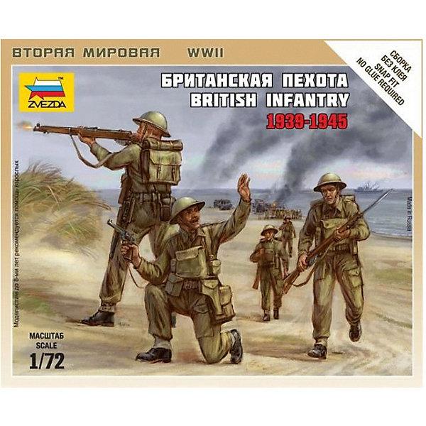 Сборная модель  Британская пехотаВоенная техника и панорама<br>Характеристики:<br><br>• возраст: от 7 лет;<br>• материал: пластик;<br>• масштаб: 1:72;<br>• количество элементов: 25;<br>• клей и краски: не в комплекте;<br>• в наборе: 5 солдатиков, отрядная подставка с флагом, карточка отряда;<br>• длина модели: 2,4 см;<br>• вес упаковки: 45 гр.;<br>• размер упаковки: 12х14,5х2 см;<br>• страна производитель: Россия.<br><br>Чтобы собрать модель Zvezda «Британская пехота» не понадобится клей. Элементы надежно скрепляются между собой. Каждая деталь легко и без повреждений отсоединяется от литника. Модель можно раскрасить по цветам из инструкции.<br><br>Сборка улучшает внимательность, мелкую моторику и пространственное мышление. Готовые фигурки являются частью игровой системы Art of Tactic «Вторая Мировая», выглядят реалистично и отличаются прочностью. Набор понравится не только игрокам, но и моделистам-коллекционерам. Набор выполнен из качественных безопасных материалов.<br><br>Сборную модель «Британская пехота» можно купить в нашем интернет-магазине.<br>Ширина мм: 120; Глубина мм: 145; Высота мм: 20; Вес г: 45; Возраст от месяцев: 84; Возраст до месяцев: 2147483647; Пол: Унисекс; Возраст: Детский; SKU: 7459642;