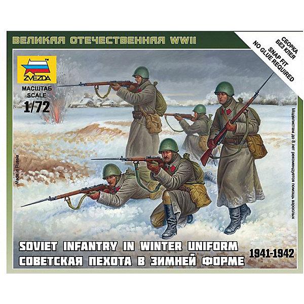 Сборная модель  Советская пехота 1941-43гг. (зима)Военная техника и панорама<br>Характеристики:<br><br>• возраст: от 7 лет;<br>• материал: пластик;<br>• масштаб: 1:72;<br>• количество элементов: 25;<br>• клей и краски: не в комплекте;<br>• в наборе: 5 солдатиков, отрядная подставка с флагом, карточка отряда;<br>• длина модели: 2,4 см;<br>• вес упаковки: 50 гр.;<br>• размер упаковки: 12х14,5х2 см;<br>• страна производитель: Россия.<br><br>Чтобы собрать модель Zvezda «Советская пехота 1941-43 гг. (зима)» не понадобится клей. Элементы надежно скрепляются между собой. Каждая деталь легко и без повреждений отсоединяется от литника. Модель можно раскрасить по цветам из инструкции.<br><br>Сборка улучшает внимательность, мелкую моторику и пространственное мышление. Готовые фигурки являются частью игровой системы Art of Tactic «Великая Отечественная», выглядят реалистично и отличаются прочностью. Набор понравится не только игрокам, но и моделистам-коллекционерам. Набор выполнен из качественных безопасных материалов.<br><br>Сборную модель «Советская пехота 1941-43 гг. (зима)» можно купить в нашем интернет-магазине.<br>Ширина мм: 145; Глубина мм: 120; Высота мм: 20; Вес г: 50; Возраст от месяцев: 84; Возраст до месяцев: 2147483647; Пол: Унисекс; Возраст: Детский; SKU: 7459649;