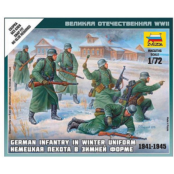 Сборная модель  Немецкая пехота 1939-1942гг (зима)Военная техника и панорама<br>Характеристики:<br><br>• возраст: от 7 лет;<br>• материал: пластик;<br>• масштаб: 1:72;<br>• количество элементов: 26;<br>• клей и краски: не в комплекте;<br>• в наборе: 5 солдатиков, отрядная подставка с флагом, карточка отряда;<br>• длина модели: 2,4 см;<br>• вес упаковки: 55 гр.;<br>• размер упаковки: 12х14,5х2 см;<br>• страна производитель: Россия.<br><br>Чтобы собрать модель Zvezda «Немецкая пехота 1939-1942 гг. (зима)» не понадобится клей. Элементы надежно скрепляются между собой. Каждая деталь легко и без повреждений отсоединяется от литника. Модель можно раскрасить по цветам из инструкции.<br><br>Сборка улучшает внимательность, мелкую моторику и пространственное мышление. Готовые фигурки являются частью игровой системы Art of Tactic «Великая Отечественная», выглядят реалистично и отличаются прочностью. Набор понравится не только игрокам, но и моделистам-коллекционерам. Набор выполнен из качественных безопасных материалов.<br><br>Сборную модель «Немецкая пехота 1939-1942 гг. (зима)» можно купить в нашем интернет-магазине.<br>Ширина мм: 145; Глубина мм: 120; Высота мм: 20; Вес г: 55; Возраст от месяцев: 84; Возраст до месяцев: 2147483647; Пол: Унисекс; Возраст: Детский; SKU: 7459650;