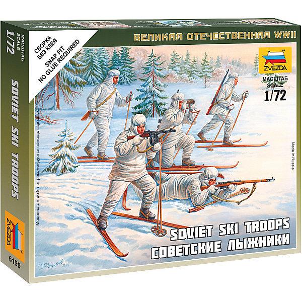 Сборная модель  Советские лыжникиВоенная техника и панорама<br>Характеристики:<br><br>• возраст: от 7 лет;<br>• материал: пластик;<br>• масштаб: 1:72;<br>• количество элементов: 23;<br>• клей и краски: не в комплекте;<br>• в наборе: 5 лыжников, отрядная подставка с флагом, карточка отряда;<br>• длина модели: 2,4 см;<br>• вес упаковки: 50 гр.;<br>• размер упаковки: 12х14,5х2 см;<br>• страна производитель: Россия.<br><br>Чтобы собрать модель Zvezda «Советские лыжники» не понадобится клей. Элементы надежно скрепляются между собой. Каждая деталь легко и без повреждений отсоединяется от литника. Модель можно раскрасить по цветам из инструкции.<br><br>Сборка улучшает внимательность, мелкую моторику и пространственное мышление. Готовые фигурки являются частью игровой системы Art of Tactic «Великая Отечественная», выглядят реалистично и отличаются прочностью. Набор понравится не только игрокам, но и моделистам-коллекционерам. Набор выполнен из качественных безопасных материалов.<br><br>Сборную модель «Советские лыжники» можно купить в нашем интернет-магазине.<br>Ширина мм: 145; Глубина мм: 120; Высота мм: 20; Вес г: 50; Возраст от месяцев: 84; Возраст до месяцев: 2147483647; Пол: Унисекс; Возраст: Детский; SKU: 7459651;