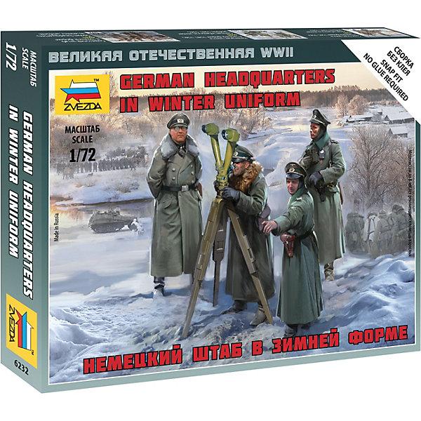 Сборная модель  Немецкия штаб в зимней формеВоенная техника и панорама<br>Характеристики:<br><br>• возраст: от 7 лет;<br>• материал: пластик;<br>• масштаб: 1:72;<br>• количество элементов: 10;<br>• клей и краски: не в комплекте;<br>• в наборе: 4 солдатика;<br>• вес упаковки: 45 гр.;<br>• размер упаковки: 12х14,5х2 см;<br>• страна производитель: Россия.<br><br>Чтобы собрать модель Zvezda «Немецкия штаб в зимней форме» не понадобится клей. Элементы надежно скрепляются между собой. Каждая деталь легко и без повреждений отсоединяется от литника. Модель можно раскрасить по цветам из инструкции.<br><br>Сборка улучшает внимательность, мелкую моторику и пространственное мышление. Готовые фигурки являются частью игровой системы Art of Tactic «Великая Отечественная», выглядят реалистично и отличаются прочностью. Набор понравится не только игрокам, но и моделистам-коллекционерам. Набор выполнен из качественных безопасных материалов.<br><br>Сборную модель «Немецкия штаб в зимней форме» можно купить в нашем интернет-магазине.<br>Ширина мм: 145; Глубина мм: 120; Высота мм: 20; Вес г: 45; Возраст от месяцев: 84; Возраст до месяцев: 2147483647; Пол: Унисекс; Возраст: Детский; SKU: 7459656;